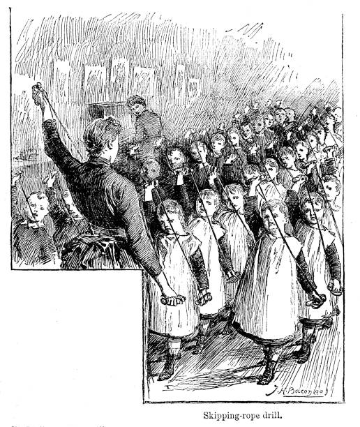19th century engraving Victorian children skipping in workhouse Sutton districts School 1890  Artist John Henry Bacon vector art illustration