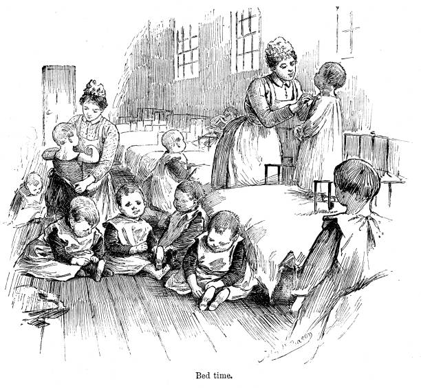 19th century engraving Victorian toddlers and the workhouse Sutton districts School 1890  Artist John Henry Bacon vector art illustration