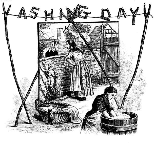 19th century engravings Our Own Gazette 1887; Washing day with women chatting in the backyard vector art illustration