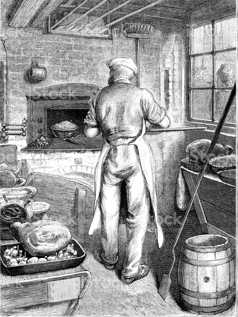 19th century etching of a baker putting loaves into the oven; Victorian bakery 1881 vector art illustration