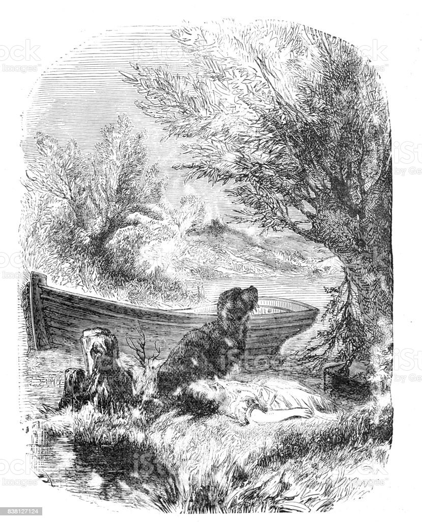 19th century etching of a young girl lying on a riverbank next to a river while a dog sits guard over her; 1889 vector art illustration