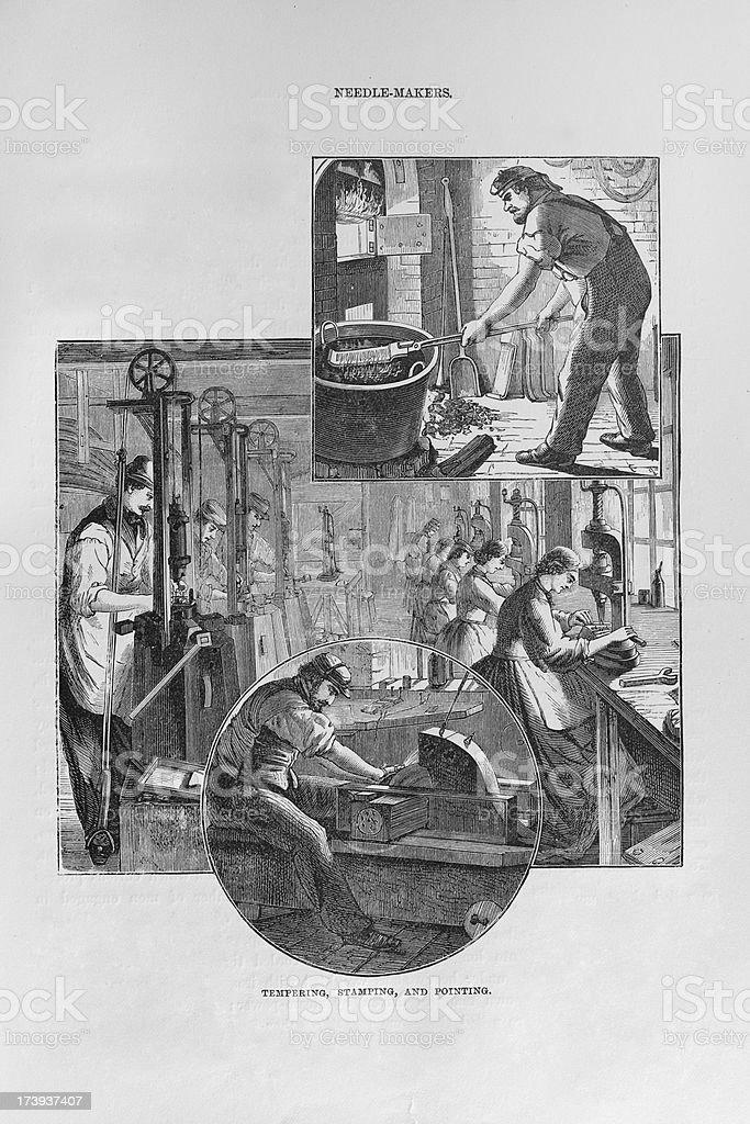 19th century factoryworkers making needles vector art illustration