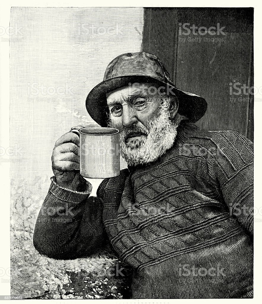 19th Century Fisherman vector art illustration
