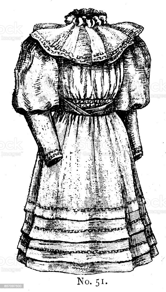 19th century girls dress with leg of mutton sleeves and high collar fashion plate; Victorian clothing and latest fashions 1893 vector art illustration