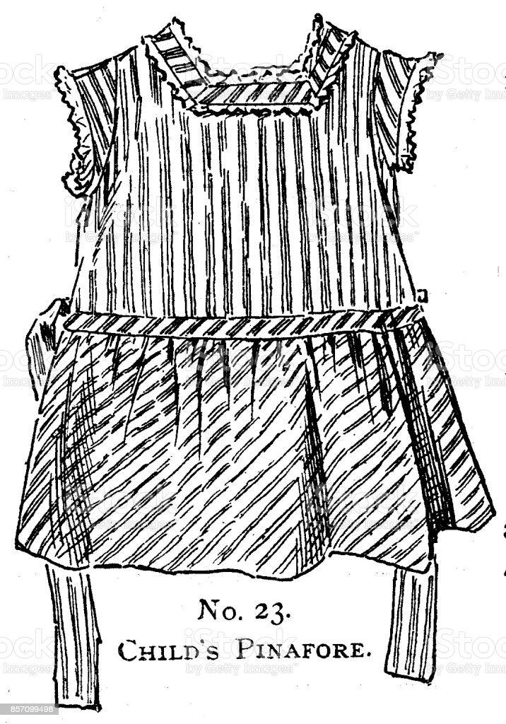 8074e1310b8 XIXe siècle filles tablier rayé robe fashion plaque   Vêtements de style  victorien et dernière mode