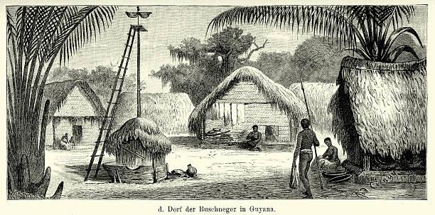 19th Century Guyana - Village of the Maroon People vector art illustration