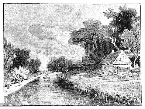 Illustration of a 19th century house river landscape