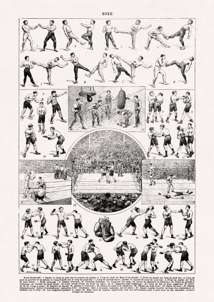 19th century illustration about French & English boxing vector art illustration