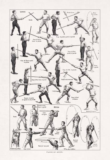 19th century illustration about Savate vector art illustration