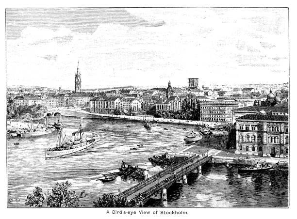 bildbanksillustrationer, clip art samt tecknat material och ikoner med 1800-illustration av en fågelperspektiv av stockholm, visar floden och byggnader; med gränsen och titel 1893 - skyline stockholm