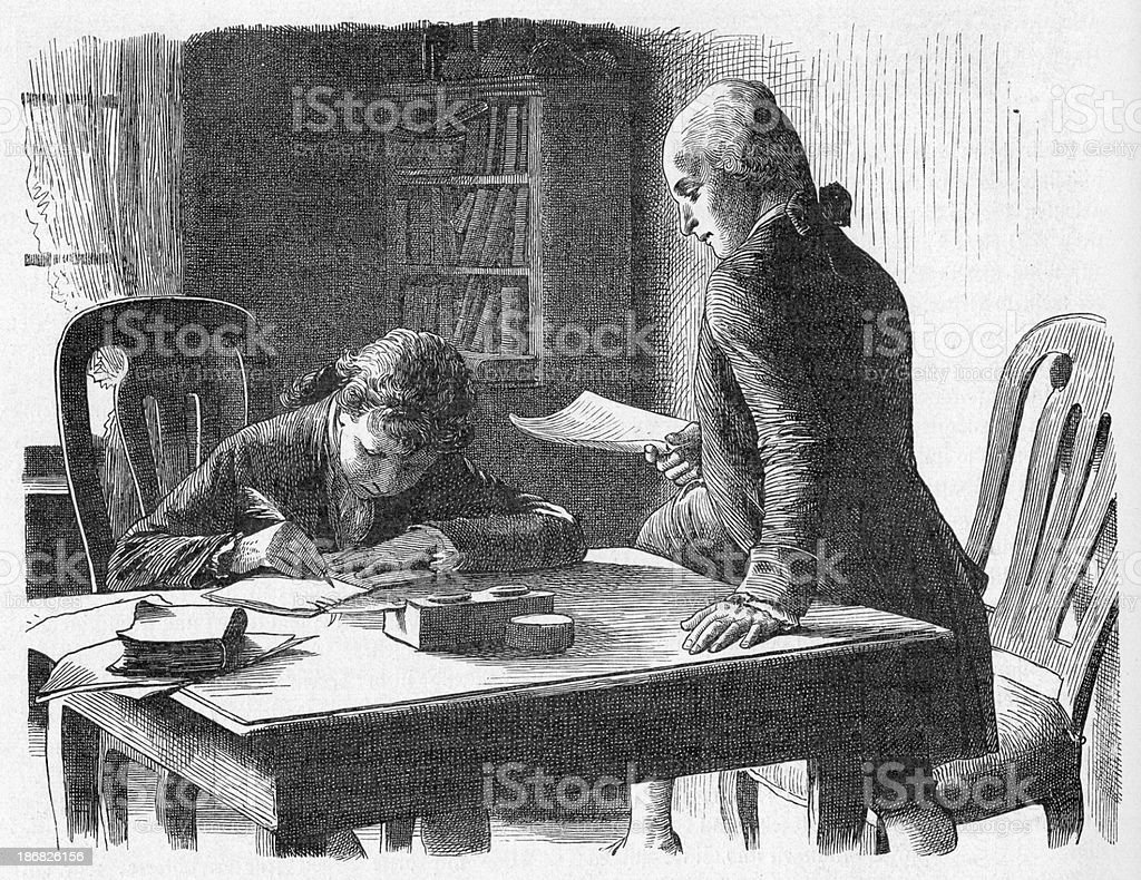 19th century illustration of a boy writing by the table. royalty-free stock vector art