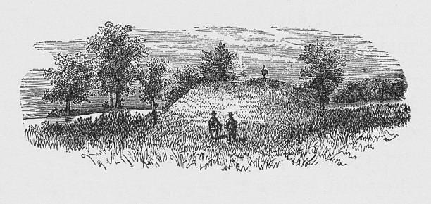 19th century illustration of a burial mound vector art illustration