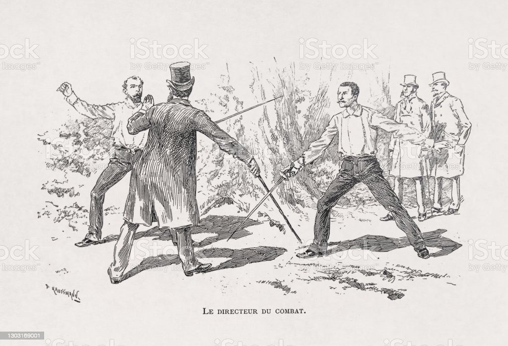 "19th century illustration of a duel Illustration of a duel between two gentlemen entitled ""Le directeur du combat"" by Kauffmann published in the late 19th century. 19th Century stock illustration"