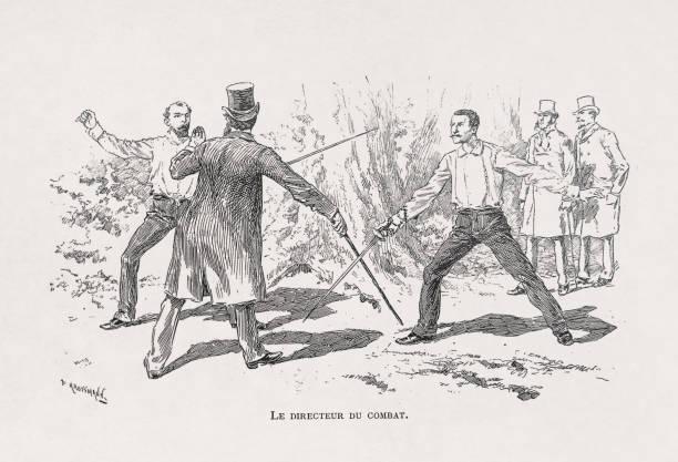 19th century illustration of a duel vector art illustration