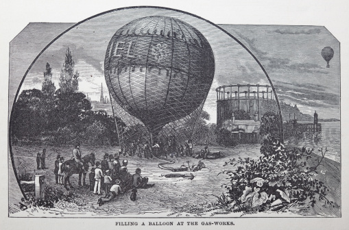19th century illustration of aPaper texture left on image for authencity. It can be easily removed with some level adjustments if you require true black and white illustration.