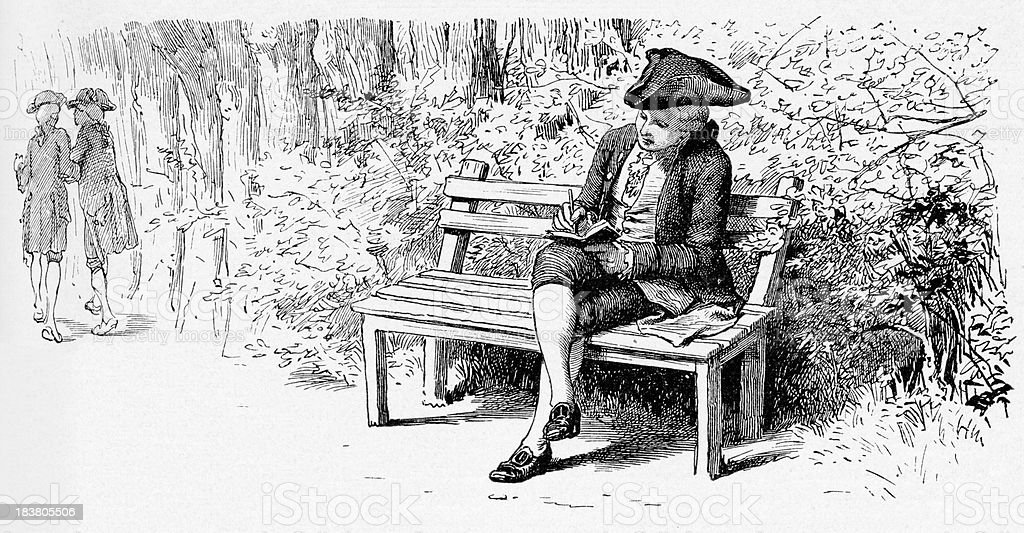 19th century illustration of a man sitting  and writing vector art illustration
