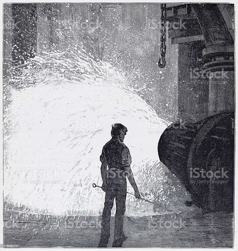 19th century illustration of a metal worker in factory vector art illustration