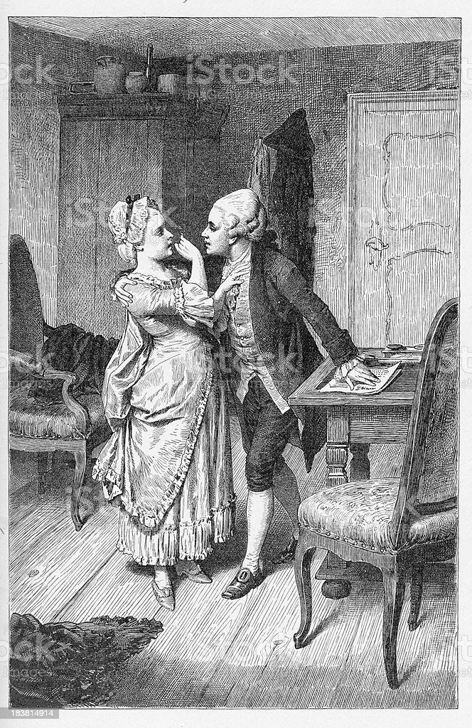 19th century illustration of a romantic couple royalty-free stock vector art