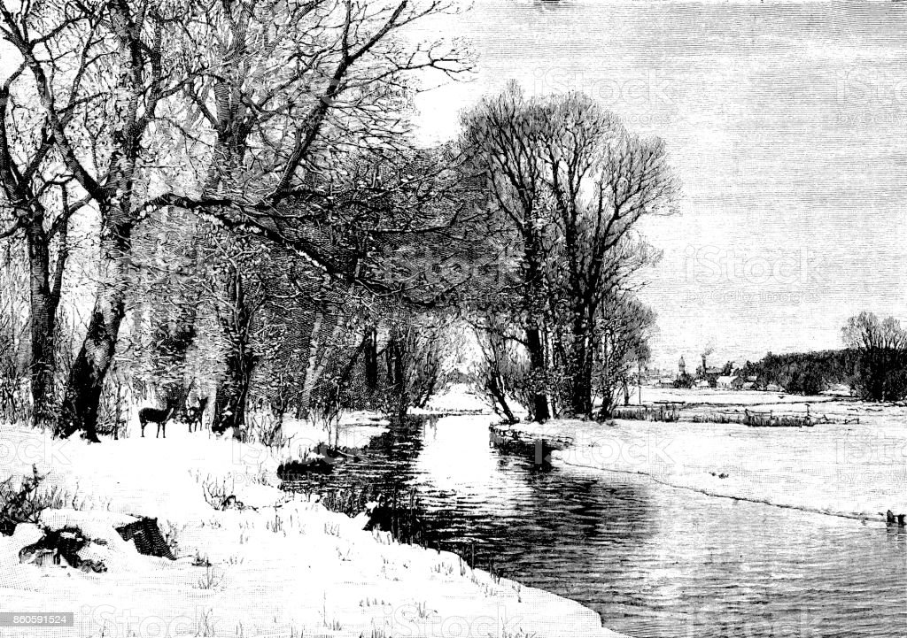 19th century illustration of a winter countryside scene depicting a river meandering through meadow and trees with deer; Victorian countryside; 1893 vector art illustration