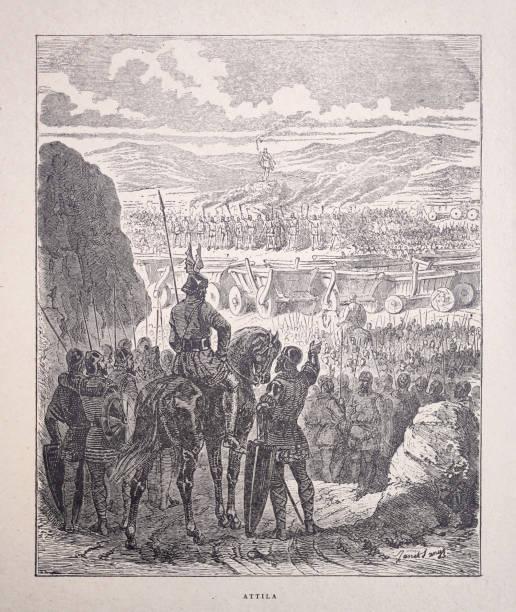 19th century illustration of Attila on a battlefield vector art illustration