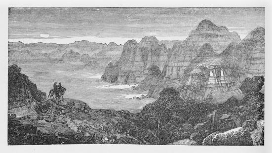 19th century illustration of badlands mountains