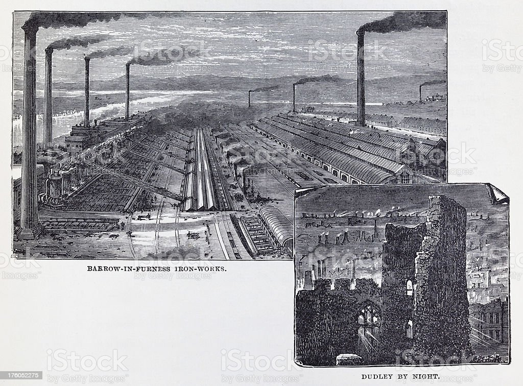 19th century illustration of British iron works royalty-free stock vector art