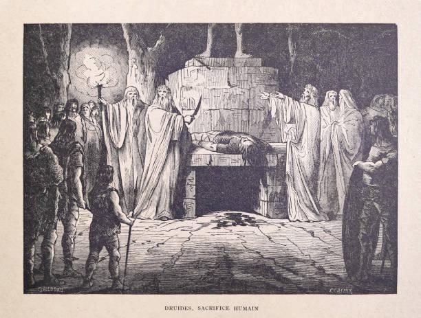 19th century illustration of druids practicing human sacrifice vector art illustration