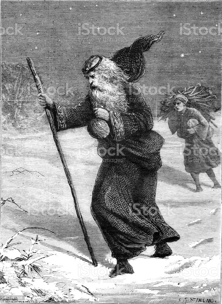 19th century illustration of Good King Wenceslas walking through a dark night; Victorian story telling 1883 vector art illustration