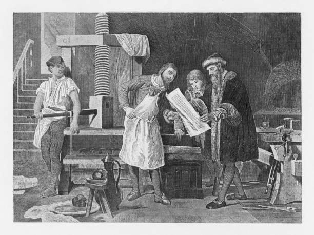 19th century illustration of Gutenberg and his press vector art illustration