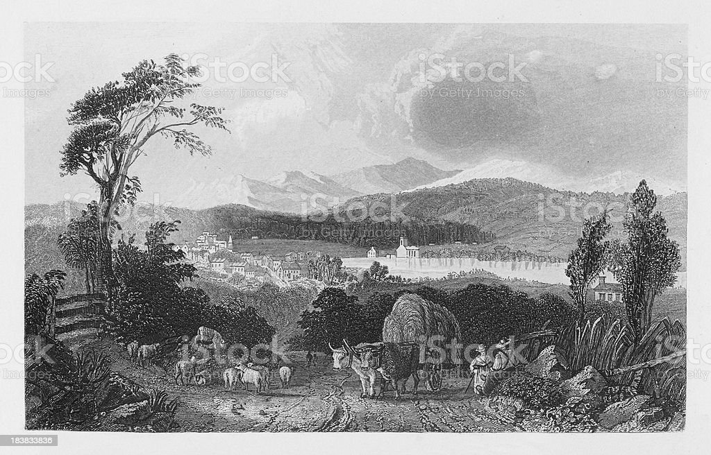 19th century illustration of harvest scene in new Hampshire royalty-free 19th century illustration of harvest scene in new hampshire stock vector art & more images of 17th century