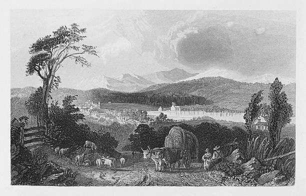 19th century illustration of harvest scene in new Hampshire vector art illustration