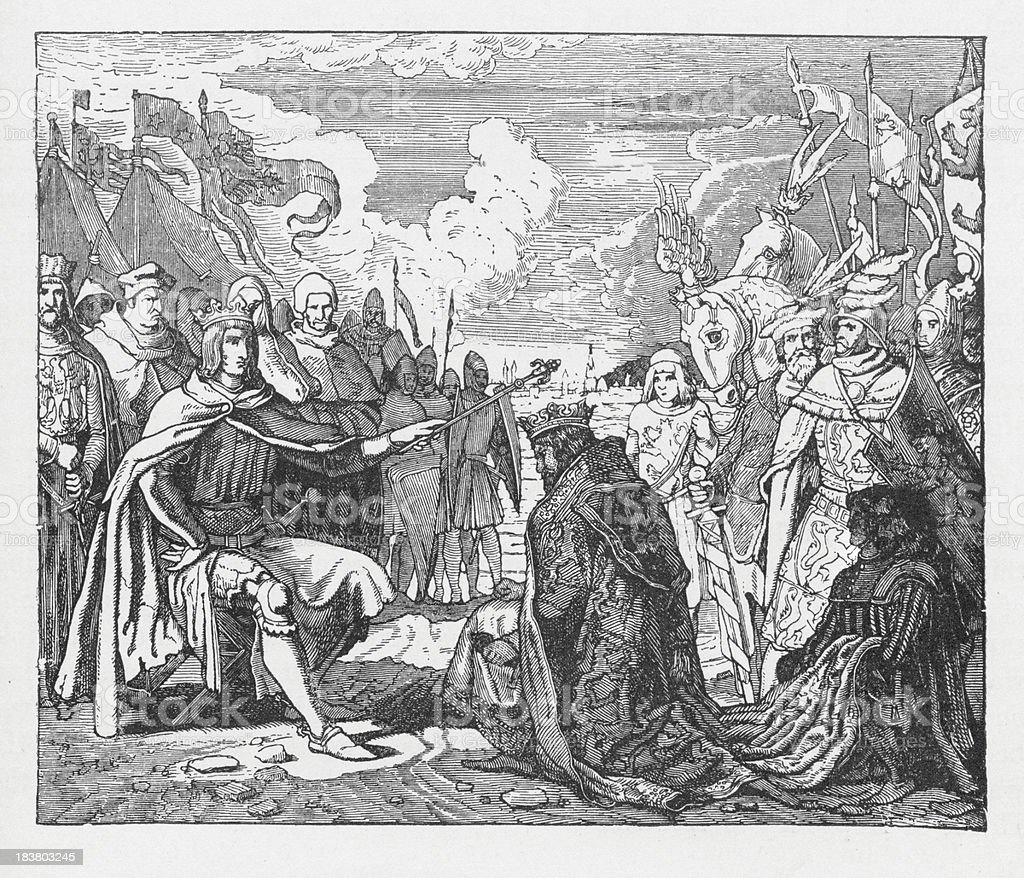 19th century illustration of king Ottokar doing Rudolf I homage vector art illustration