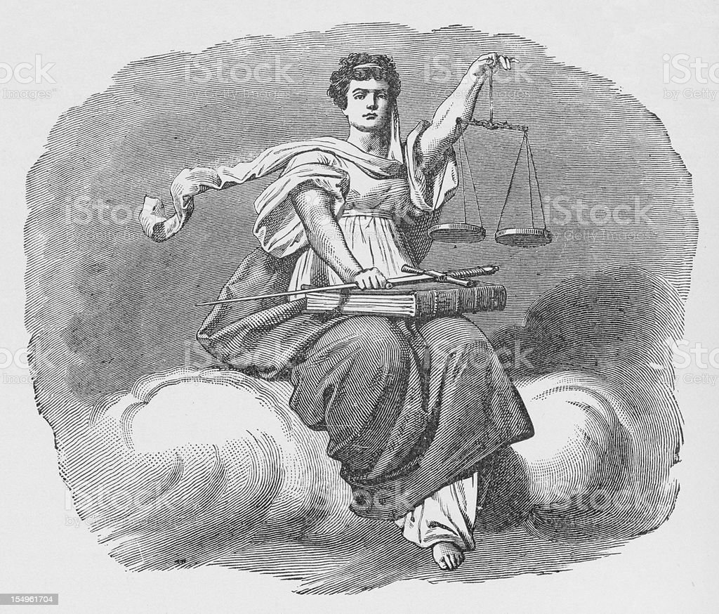 19th century illustration of lady justice vector art illustration