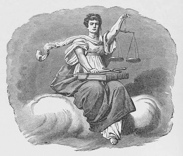 19th century illustration of lady justice vector art illustration