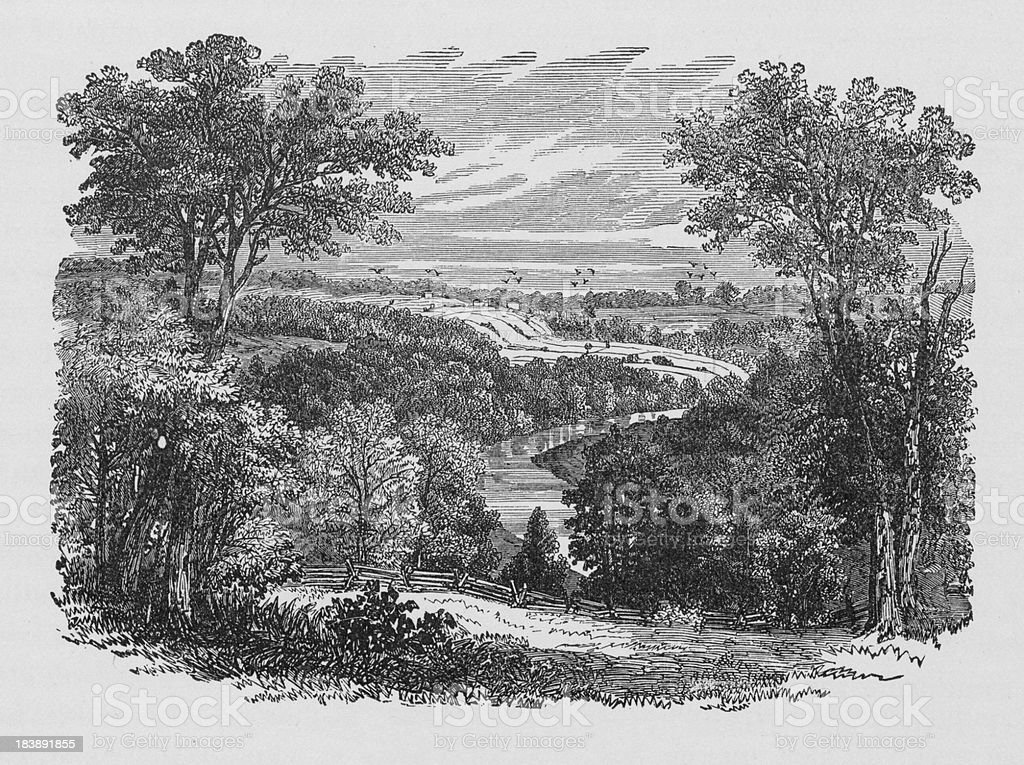 19th century illustration of New Englands scenery vector art illustration