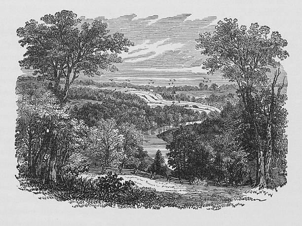 19th century illustration of New Englands scenery vector art illustration