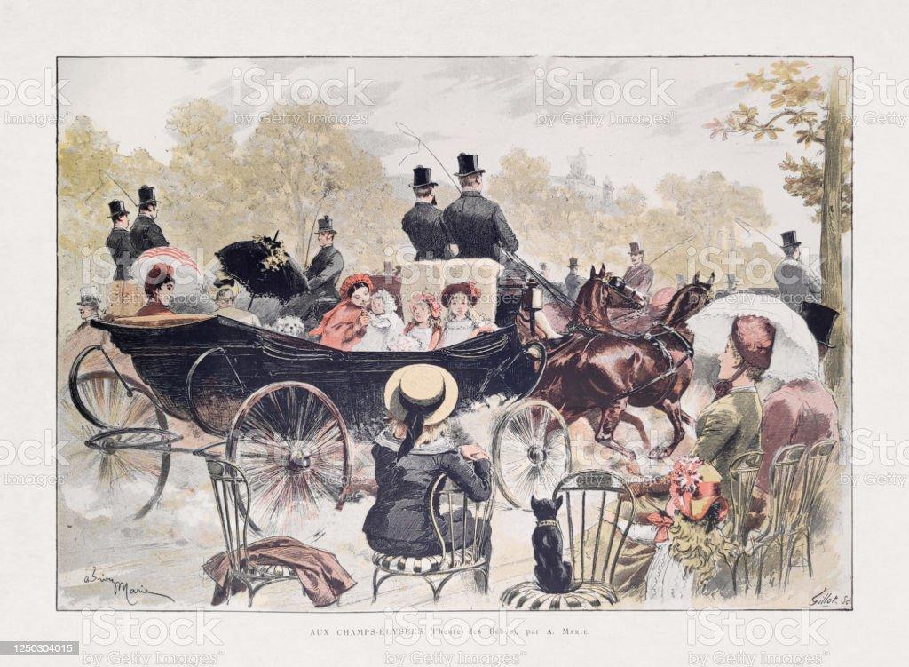 19th century illustration of Parisians on the Champs-Élysées - Royalty-free 19th Century stock illustration