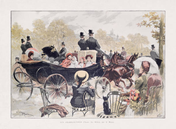 19th century illustration of Parisians on the Champs-Élysées vector art illustration