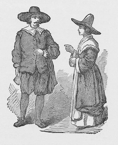 19th century illustration of pilgrims vector art illustration