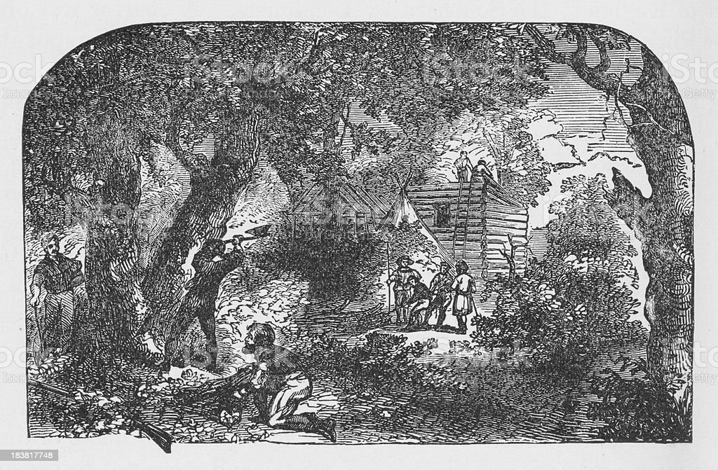 19th century illustration of settlers building James town vector art illustration