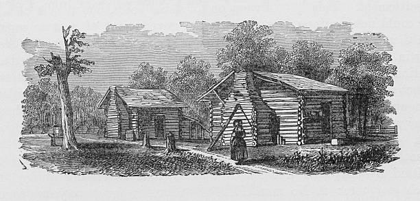 19th century illustration of settlers first home vector art illustration