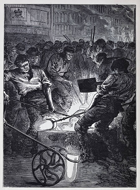 19th century illustration of steel workers vector art illustration