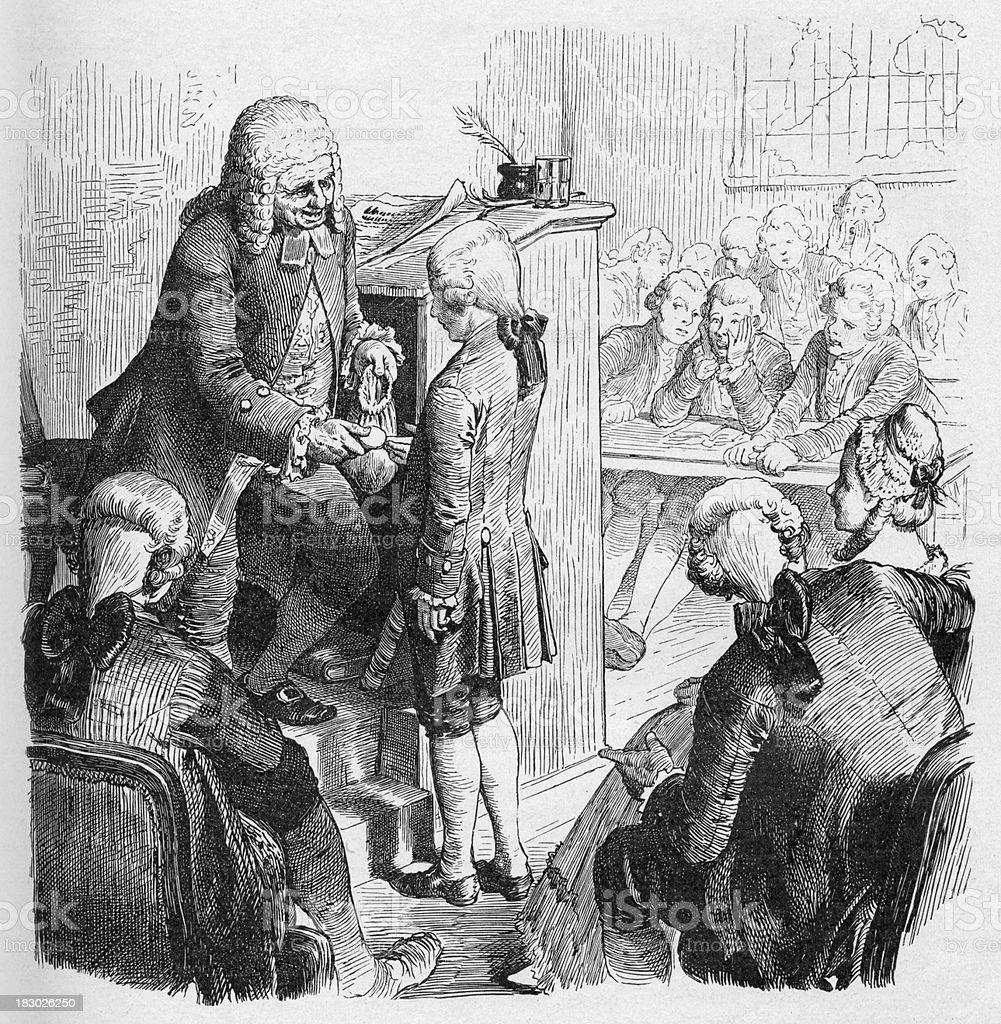 19th century illustration of teacher rewarding boy vector art illustration