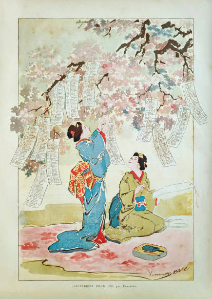 19th Century illustration of two Geishas vector art illustration