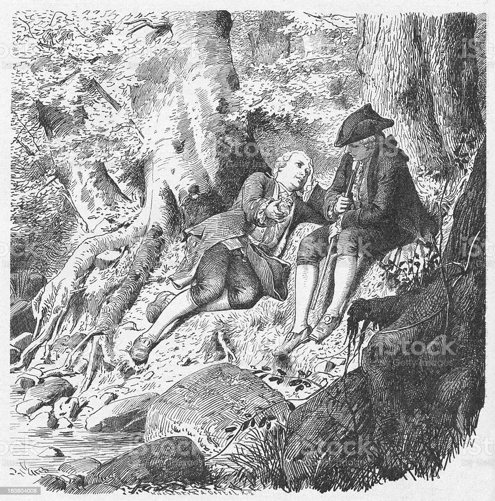 19th century illustration of two men resting on river bank vector art illustration
