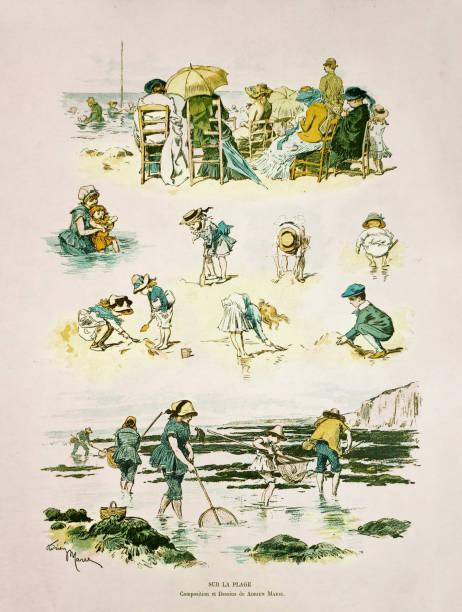 19th century illustration of various beach activities vector art illustration