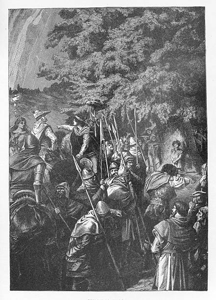 19th century illustration of Wilhelm Tell vector art illustration