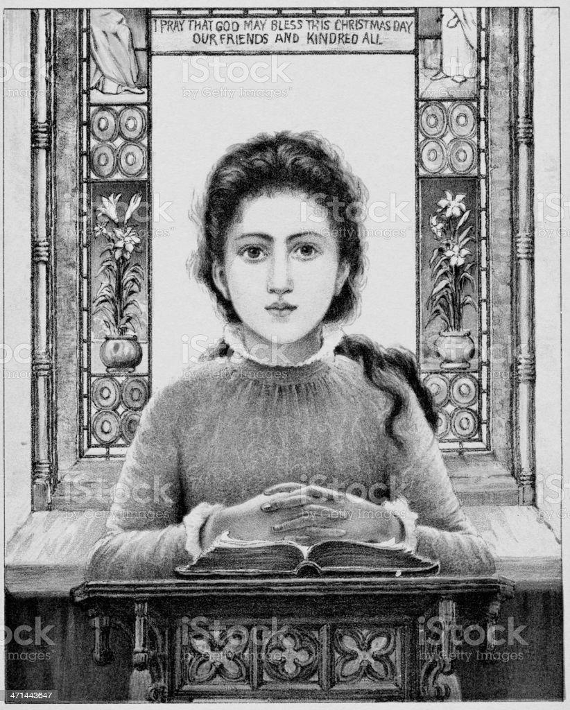 19th century image of praying girl vector art illustration