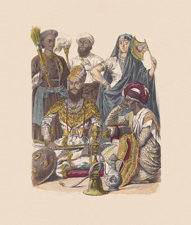 19th century, Indian costumes, hand-colored wood engraving, published ca. 1880