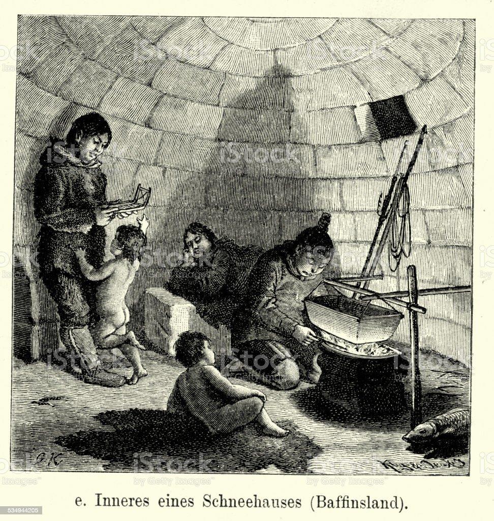 19th Century Inuit Igloo vector art illustration